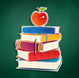 38329396 - sticker with pile of books and apple on green chalkboard background.