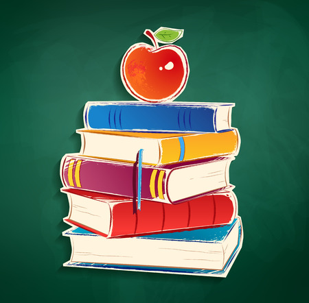 38329396 – sticker with pile of books and apple on green chalkboard background.
